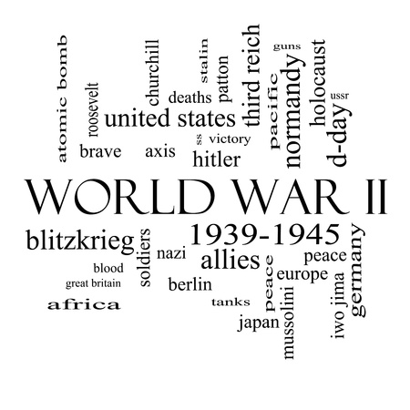 world wars: World War II Word Cloud Concept in black and white with great terms such as guns, axis, allies, victory and more.