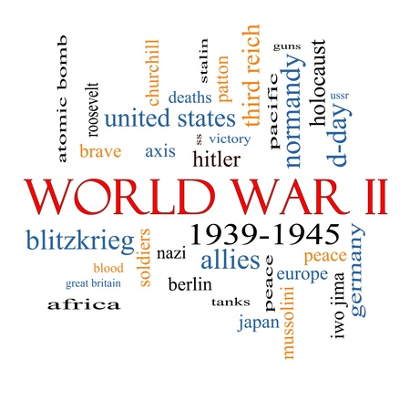 world war two: World War II Word Cloud Concept with great terms such as guns, axis, allies, victory and more.