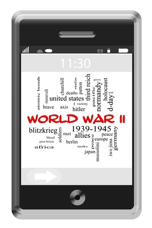 patton: World War II Word Cloud Concept of Touchscreen Phone with great terms such as allies, axis, soldiers and more.