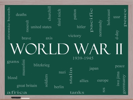 patton: World War II Word Cloud Concept on a Blackboard with great terms such as guns, axis, allies, victory and more.