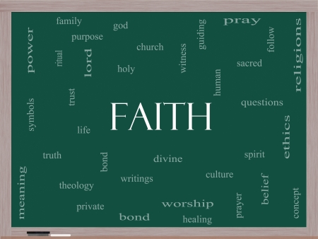 theology: Faith Word Cloud Concept on a Blackboard with great terms such as power, worshiop, spirit, divine and more.
