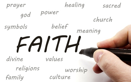 Hand writing FAITH and related words such as power, belief, worship and more. Stock Photo - 19716731