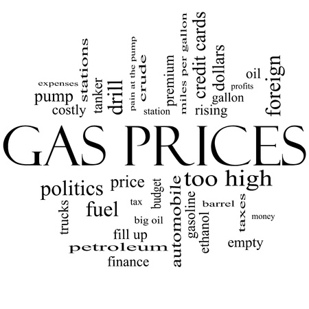 mpg: Gas Prices Word Cloud Concept in black and white with great terms such as automobile, pump, costly, gallon, price and more. Stock Photo