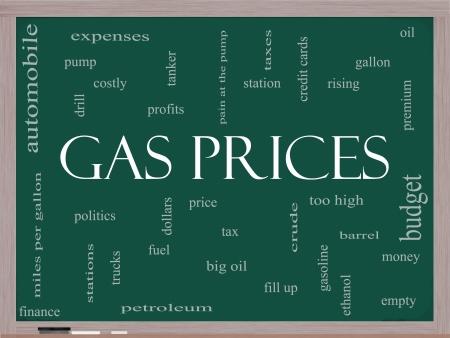 camión cisterna: Gas precios Palabra Nube Concepto en una pizarra con términos tales como automóviles, bomba, costoso, galón, precio y más. Foto de archivo