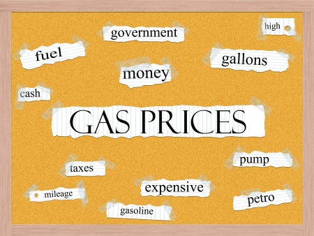 gallons: Gas Prices Cork-board Word Concept with great terms such as fuel, money, gallons, high and more. Stock Photo