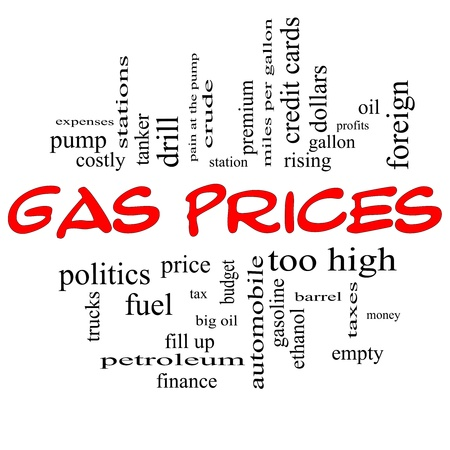 Gas Prices Word Cloud Concept in red caps with great terms such as automobile, pump, costly, gallon, price and more. photo