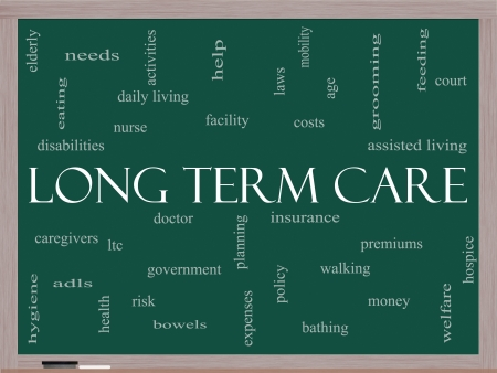 Long Term Care Word Cloud Concept on a Blackboard with great terms such as policy, costs, elderly, age and more.