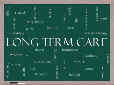Long Term Care Word Cloud Concept op een schoolbord met grote termen als beleid, kosten, ouderen, leeftijd en meer. Stockfoto
