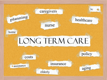 Long Term Care Cork board Word Concept with great terms such as caregivers, policy, elderly and more. Stock Photo