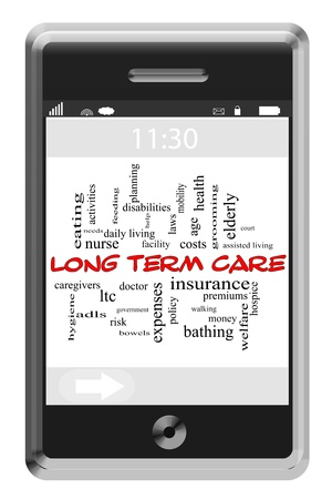 Long Term Care Word Cloud Concept of Touchscreen Phone with great terms such as elderly, nurse, assist and more. Stock Photo - 20370777