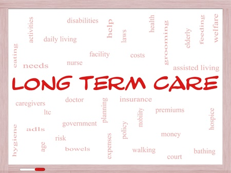 premiums: Long Term Care Word Cloud Concept on a Whiteboard with great terms such as policy, costs, elderly, age and more.
