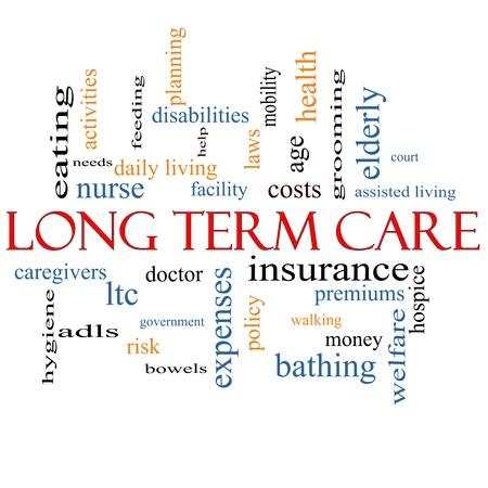 intestinos: Long Term Care Palabra Nube Concepto con los t�rminos tales como la pol�tica, los costos, los ancianos, la edad y m�s.