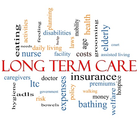 Long Term Care Word Cloud Concept with great terms such as policy, costs, elderly, age and more. Stock Photo