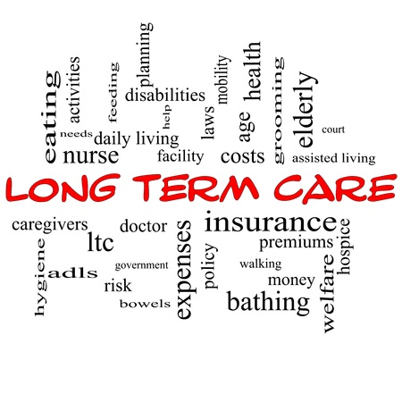 long: Long Term Care Word Cloud Concept in red caps with great terms such as insurance, policy, costs, elderly, age and more.