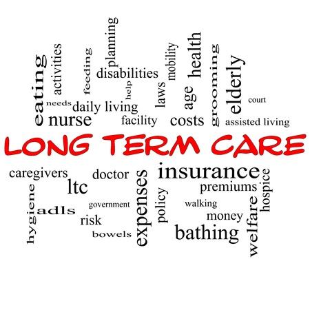 Parole Term Care Concept-Cloud longtemps dans les bouchons rouges avec d'excellentes conditions telles que l'assurance, la politique, les coûts, les personnes âgées, l'âge et plus. Banque d'images - 20370894