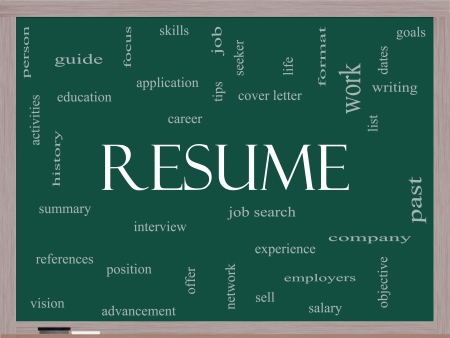 Resume Word Cloud Concept on a Blackboard with great terms such as career, job search, interview and more. photo
