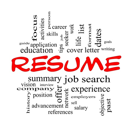 formats: Resume Word Cloud Concept in Red caps with great terms such as career, job search, interview and more. Stock Photo