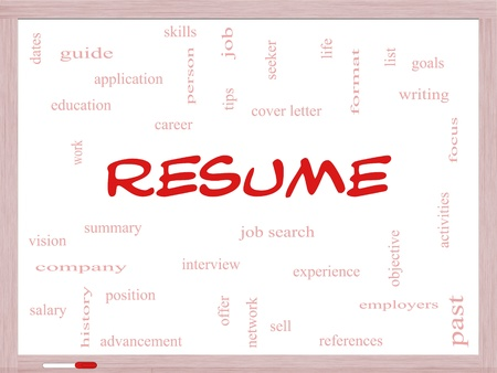 formats: Resume Word Cloud Concept on a Whiteboard with great terms such as career, job search, interview and more.