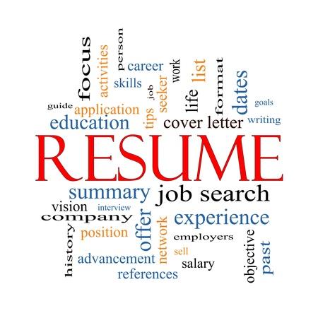 Resume Word Cloud Concept met grote termen als carrière, het zoeken naar werk, interview en meer.