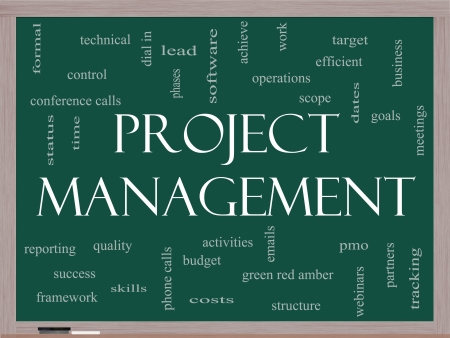 phases: Project Management Word Cloud Concept on a Blackboard with great terms such as pmo, lead, goals, business, meetings and more.