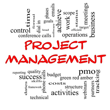 Project Management Word Cloud Concept in red caps with great terms such as pmo, lead, goals, business, meetings and more. photo
