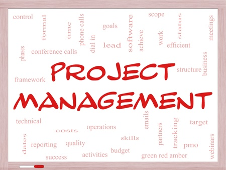 Project Management Word Cloud Concept on a Whiteboard with great terms such as pmo, lead, goals, business, meetings and more. photo