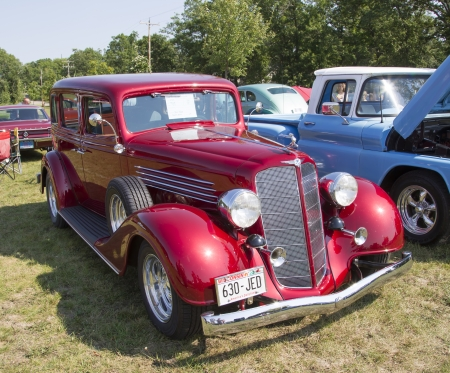 WAUPACA, WI - AUGUST 24:  A 1934 Buick 57 Red Car at Waupaca Rod and Classic Annual Car Show August 24, 2013 in Waupaca, Wisconsin.