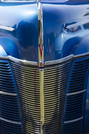 WAUPACA, WI - AUGUST 24:  Grill of a 1940 Blue Ford Deluxe Car at Waupaca Rod and Classic Car Show August 24, 2013 in Waupaca, Wisconsin.