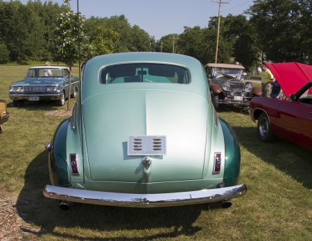 ambassador: WAUPACA, WI - AUGUST 24:  Back of 1941 Nash Ambassador Aqua Car at Waupaca Rod and Classic Car Show August 24, 2013 in Waupaca, Wisconsin. Editorial