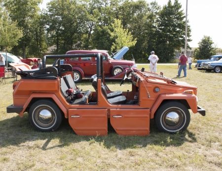 WAUPACA, WI - AUGUST 24:  Side of 1974 Volkswagen Thing Car at Waupaca Rod and Classic Car Show August 24, 2013 in Waupaca, Wisconsin.