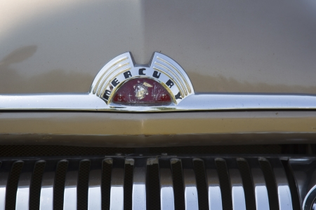 WAUPACA, WI - AUGUST 24:   Grill close up 1951 Mercury Coupe Car at Waupaca Rod and Classic Annual Car Show August 24, 2013 in Waupaca, Wisconsin. Editorial