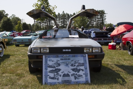 WAUPACA, WI - AUGUST 24:  Front of 1981 DeLorean Car at Waupaca Rod and Classic Annual Car Show August 24, 2013 in Waupaca, Wisconsin. Editorial