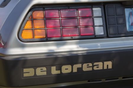 WAUPACA, WI - AUGUST 24:  Rear lights of 1981 DeLorean Car at Waupaca Rod and Classic Annual Car Show August 24, 2013 in Waupaca, Wisconsin.