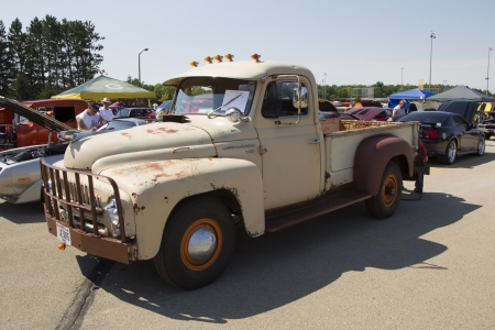 WAUPACA, WI - AUGUST 24:  1952 International L-120 Truck at Waupaca Rod and Classic Annual Car Show August 24, 2013 in Waupaca, Wisconsin.