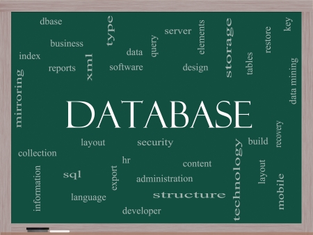 Database Word Cloud Concept on a Blackboard with great terms such as security, server, software, design and more. Stock Photo - 24399312