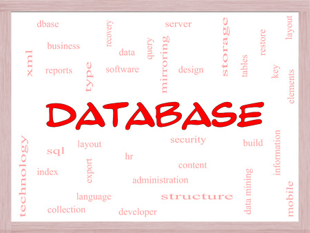 Database Word Cloud Concept on a Whiteboard with great terms such as security, server, software, design and more. Stock Photo