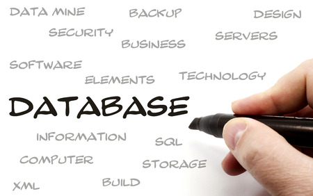 Hand writing Database words including great terms such as backup, business, servers, technology, sql, storage, build and more. photo