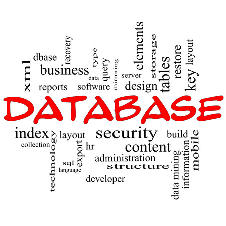 Database Word Cloud Concept in red caps with great terms such as security, server, software, design and more. Stock Photo - 24399322