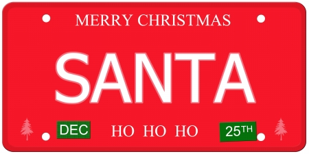 december 25th: An imitation license plate with December 25th stickers and SANTA written on it making a great concept.  Words elsewhere Merry Christmas and Ho Ho Ho. Stock Photo