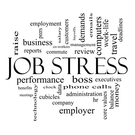 Job Stress Word Cloud Concept in black and white with great terms such as boss, commute, meetings, cubicles and more. Stock Photo