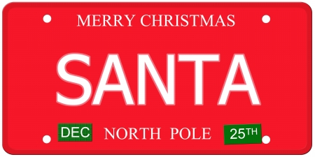 december 25th: An imitation license plate with December 25th stickers and SANTA written on it making a great concept.  Words elsewhere Merry Christmas and North Pole.