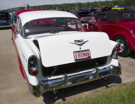 WAUPACA, WI - AUGUST 24:  Back of a red and white1956 Chevy Bel Air car at Waupaca Rod and Classic Annual Car Show August 24, 2013 in Waupaca, Wisconsin.
