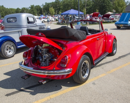 WAUPACA, WI - AUGUST 24:  Back of a 1971 VW Super Beetle car at Waupaca Rod and Classic Annual Car Show August 24, 2013 in Waupaca, Wisconsin.