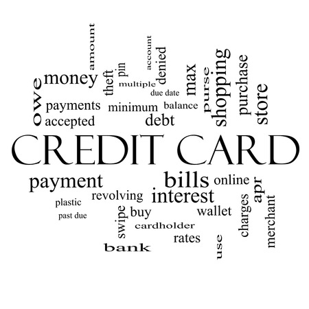 Credit Card Word Cloud Concept in black and white with great terms such as debt, balance, interest, charges and more.
