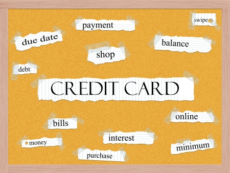 swipe: Credit Card Corkboard Word Concept with great terms such as due date, shop, debt, swipe and more.