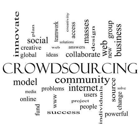 powerful creativity: Crowdsourcing Word Cloud Concept in black and white with great terms such as community, group, project, ideas and more.