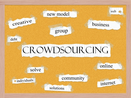 crowdsourcing: Crowdsourcing Corkboard Word Concept with great terms such as group, solve, creative and more.