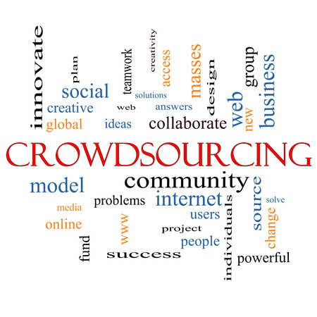 Crowdsourcing Word Cloud Concept with great terms such as community, group, project, ideas and more. photo
