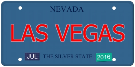 silver state: An imitation Nevada license plate with July 2016 stickers and LAS VEGAS written on it making a great concept.  Words elsewhere Silver State.