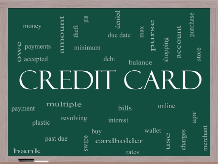 cardholder: Credit Card Word Cloud Concept on a Blackboard with great terms such as debt, balance, interest, charges and more.